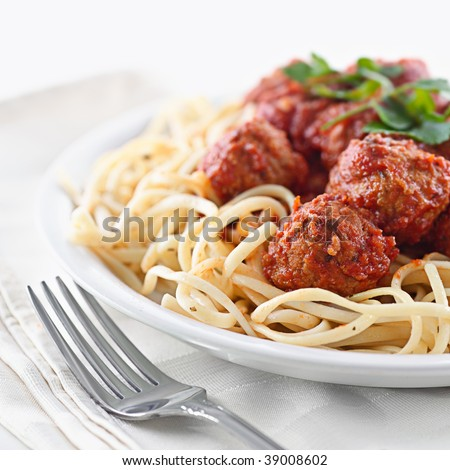 spaghetti and meat balls - stock photo