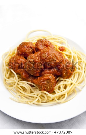 Spaghetti and meat balls with tomato sauce - stock photo