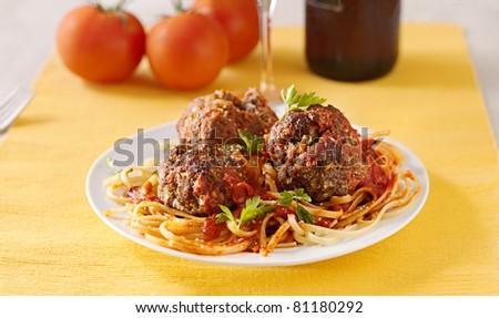 spaghetti and meatball dinner - stock photo