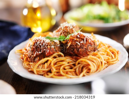 spaghetti and meatballs dinner - stock photo