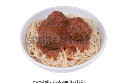 Spaghetti and meatballs with tomato sauce in a bowl - stock photo