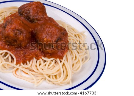 Spaghetti and meatballs with tomato sauce on a plate - stock photo