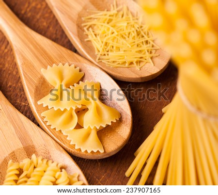 spaghetti and noodle on table. selective focus - stock photo