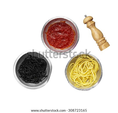 spaghetti and red sauce in metal cup on white background