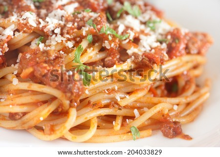 spaghetti bolognese closeup - stock photo