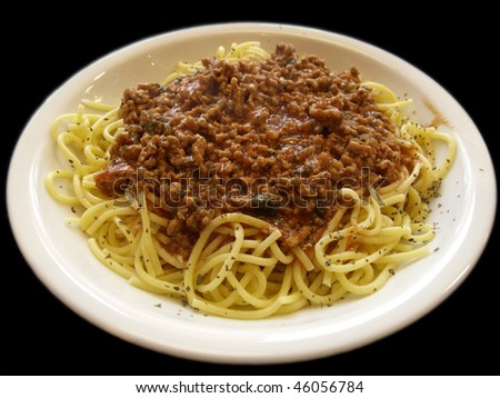 Spaghetti Bolognese on the plate - stock photo
