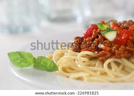Spaghetti Bolognese or Bolognaise noodles pasta meal on a plate - stock photo