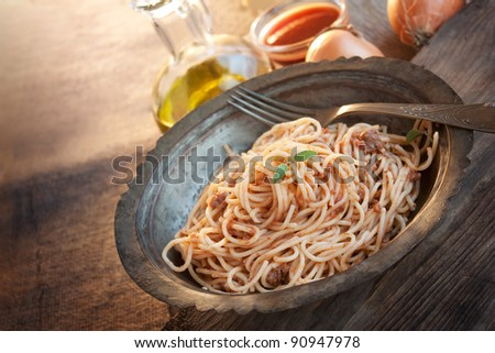 Spaghetti bolognese. Pasta with meat and tomato sauce. Traditional italian dish - stock photo
