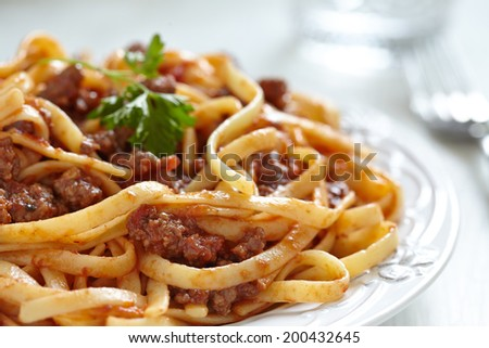 spaghetti bolognese pasta with tomato beef sauce - stock photo