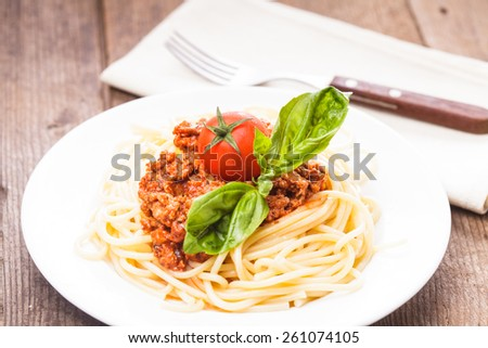 Spaghetti bolognese - pasta with tomato sauce and minced meat - stock photo