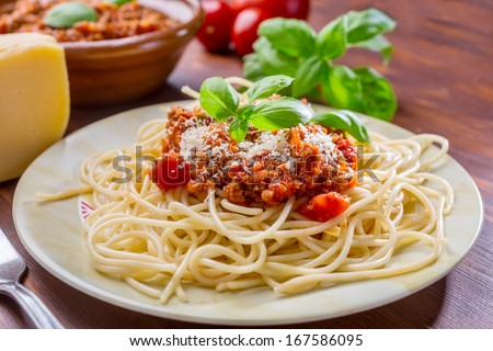 Spaghetti Bolognese with Parmesan Cheese and Basil