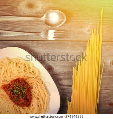 Spaghetti bolognese with  tomato sauce - stock photo