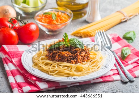 Spaghetti bologneseon white plate with ingredients on gray background - stock photo