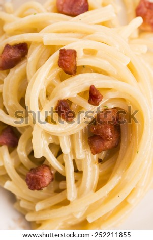 Spaghetti carbonara, a typical italian dish  - stock photo