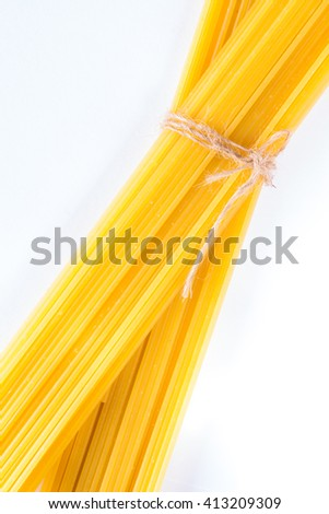 Spaghetti close up. top view