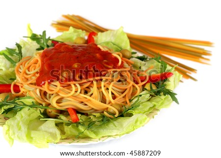 Spaghetti dinner - stock photo