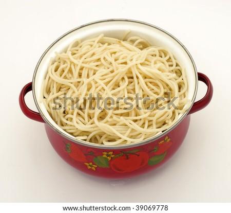 spaghetti in a pot - stock photo