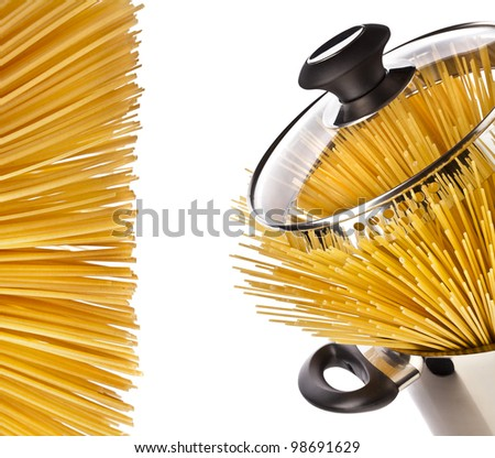 spaghetti  in a pot casserole border frame isolated on white background - stock photo