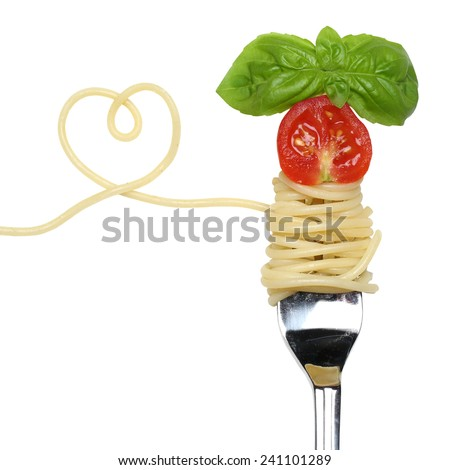 Spaghetti noodles pasta meal with heart, tomato on a fork love topic - stock photo