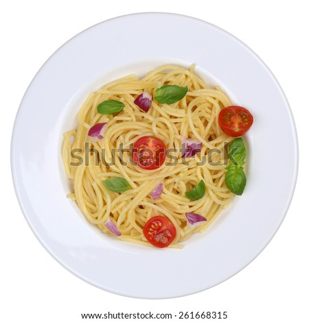 Spaghetti noodles pasta meal with tomatoes and basil on plate isolated from above - stock photo