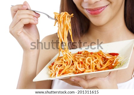Spaghetti on a plate. Close up. - stock photo