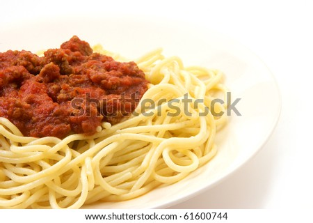 Spaghetti on a white background with copy space - stock photo
