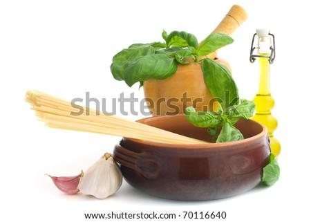 Spaghetti pasta and ingredients to make pesto sauce - stock photo