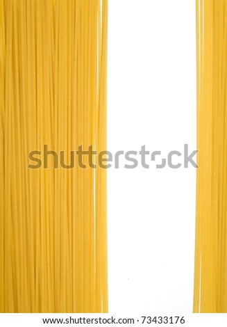 Spaghetti pasta composition with white space for simply text - stock photo