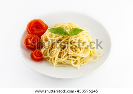 spaghetti pasta on plate isolated on white background