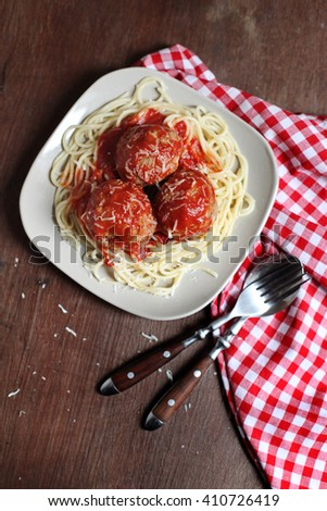 Spaghetti pasta with meatballs and tomato sauce - stock photo