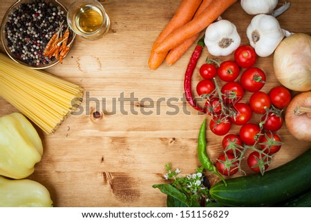Spaghetti pasta with olive oil and basil, garlic and tomato