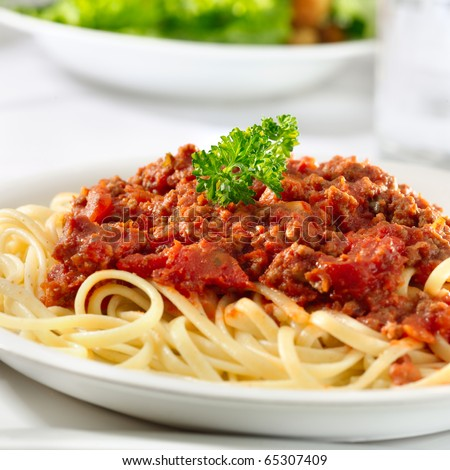 spaghetti pasta with tomato beef sauce - stock photo