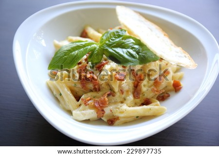 Spaghetti penne Carbonara  - stock photo