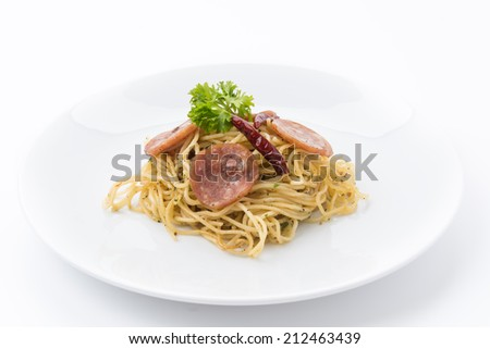 spaghetti pepperoni - stock photo
