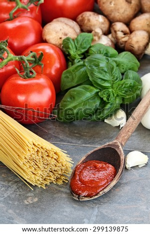 Spaghetti sauce with pasta, basil leaves, garlic and fresh tomatoes with extreme shallow depth of field. - stock photo