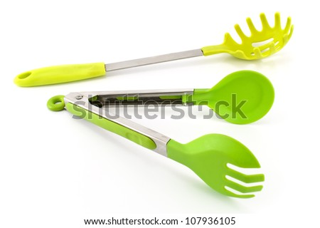 Spaghetti utensils isolated on white - stock photo