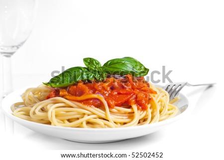 Spaghetti whit tomato sauce - stock photo