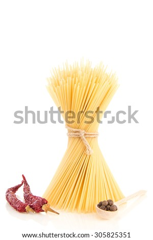 Spaghetti with black and dry red hot chilly pepper - stock photo