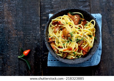 Spaghetti with chanterelle - stock photo
