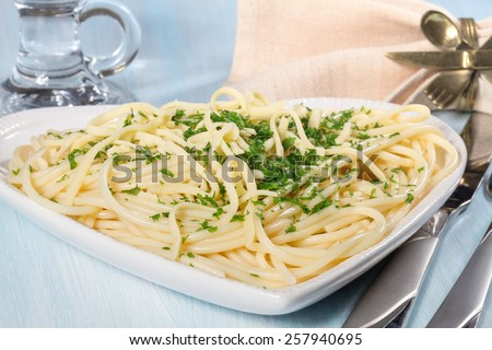 Spaghetti with cheese and fresh parsley closeup - stock photo