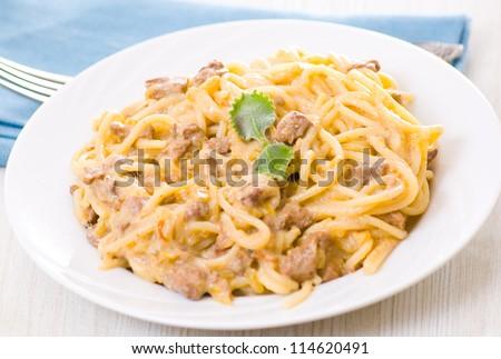 spaghetti with cream sauce - stock photo