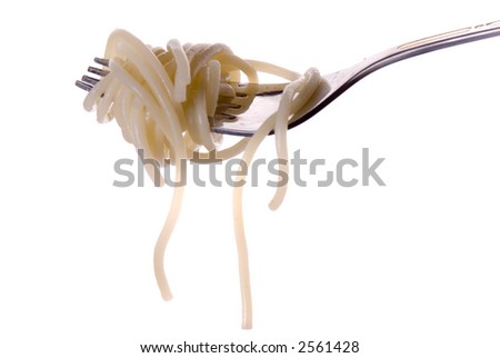 Spaghetti with grawy on the fork close-up