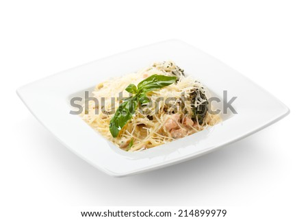 Spaghetti with Meat and Basil Leaf - stock photo