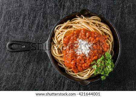 Spaghetti with meat sauce Italian food - stock photo