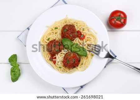 Spaghetti with meatballs noodles pasta meal on a plate from above - stock photo