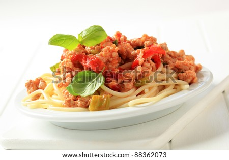 Spaghetti with minced meat - stock photo