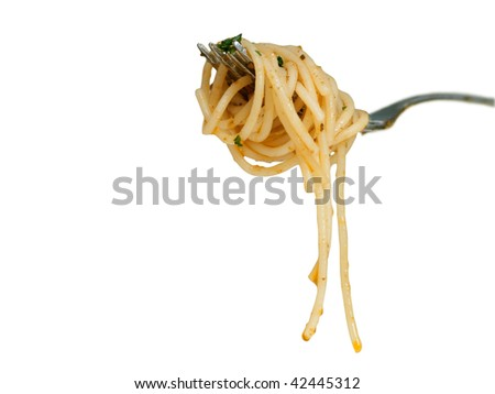 Spaghetti with red pesto isolated on white, clipping path included - stock photo