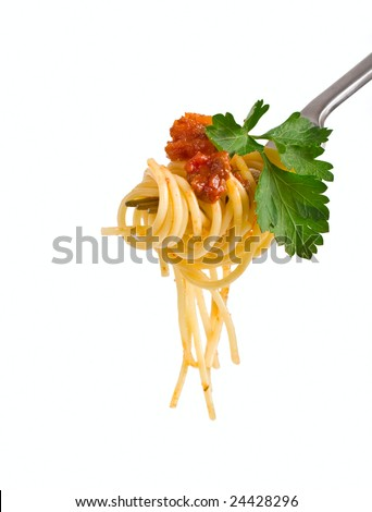 spaghetti with sauce bolognese and green parsley hanging on a fork - stock photo
