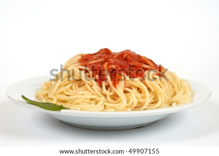spaghetti with sauce close up - stock photo