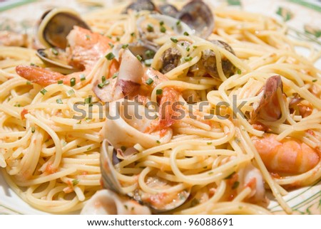 Spaghetti with seafood - stock photo